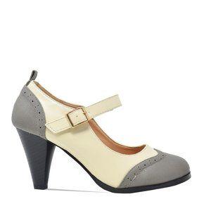 Women's Grey/White Two Tone Mary Jane Retro Pump